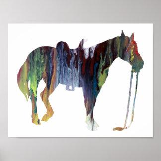 Färgrik abstrakt hästsilhouette poster