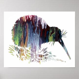 Färgrik abstrakt Kiwisilhouette Poster