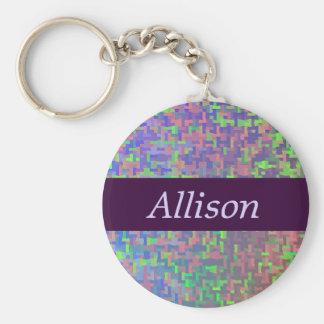 Färgrik abstrakt med ditt namn rund nyckelring
