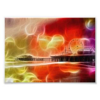 Färgrik abstrakt Santa Monica pir Fototryck