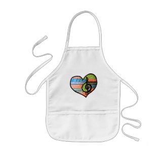 Färgrik anpassade för regnbågemusikhjärta barnförkläde