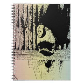 Färgrik apaillustration - POP-ART Anteckningsbok Med Spiral