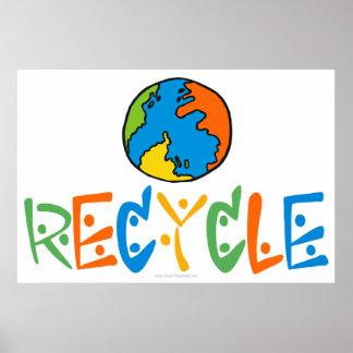 Färgrik återvinning poster