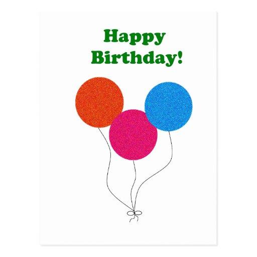 Färgrik ballongtecknad för grattis på födelsedagen vykort