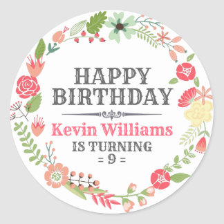Färgrik blom- krangrattis på födelsedagentext runt klistermärke
