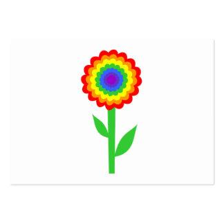 Färgrik blomma i regnbågefärger set av breda visitkort