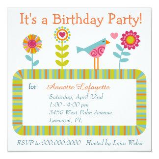 Färgrik blomma- och fågelramfödelsedagsfest fyrkantigt 13,3 cm inbjudningskort