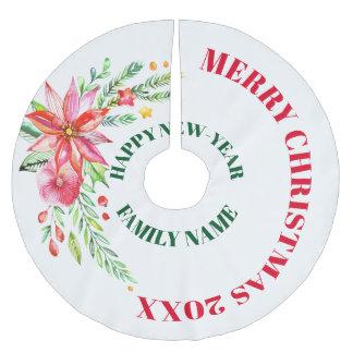 Färgrik blommabukett för god jul julgransmatta borstad polyester