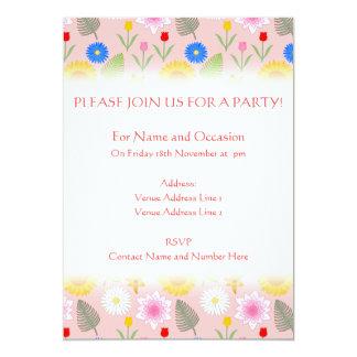 Färgrik blommönster på bleken - rosa. 12,7 x 17,8 cm inbjudningskort