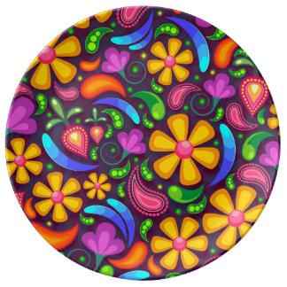 Färgrik blommönster porslinstallrik