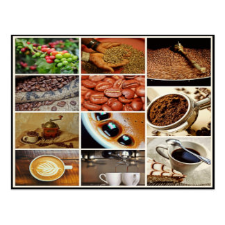 Färgrik collage för drink för cappuccinokaffecafé vykort