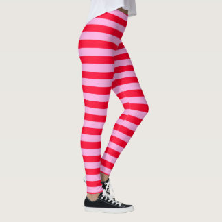 Färgrik damasker för rosa och rött randigt mönster leggings