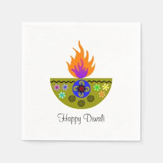 Färgrik Diwali lampa Diya Papper Servett