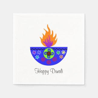 Färgrik Diwali lampa Diya Papper Servetter