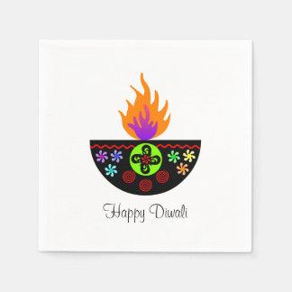 Färgrik Diwali lampa Diya Servett