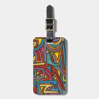 Färgrik djärv geometrisk abstrakt modern konst bagage lappar för väskor