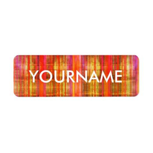 Färgrik etikett för namn för randkonstmönster returadress etikett