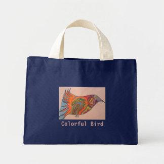 Färgrik fågel mini tygkasse