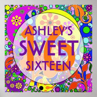 Färgrik för födelsedagsfestvägg för sötsak 16 poster