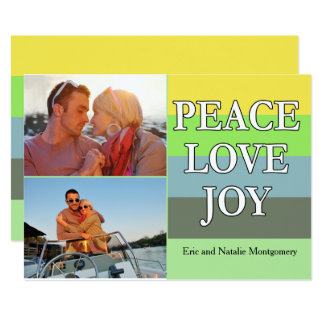 Färgrik fredkärlek- och glädjejulkort 12,7 x 17,8 cm inbjudningskort