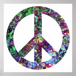 Färgrik fredstecken affischer