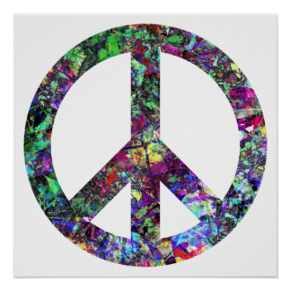 Färgrik fredstecken poster