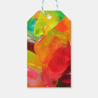 färgrik gelégummistruktur presentetikett