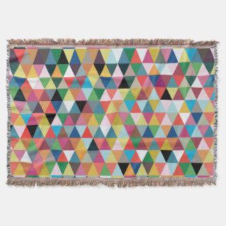 Färgrik geometrisk mönstrad kastfilt filt