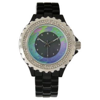 Färgrik grön blåttstänkabstrakt armbandsur