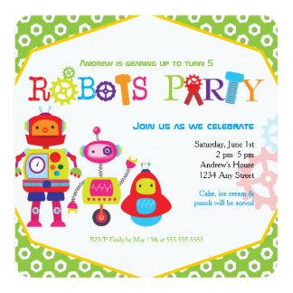 Färgrik grönt för barns födelsedagpartyrobotar fyrkantigt 13,3 cm inbjudningskort