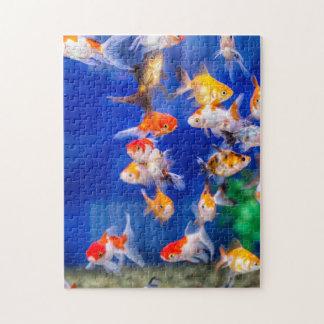 Färgrik guldfisk pussel