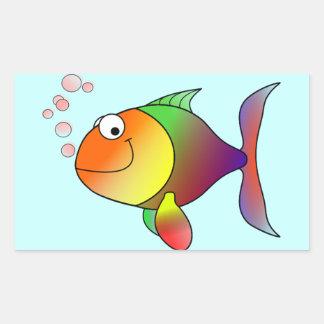 Färgrik gullig rolig fisk - rektangulärt klistermärke
