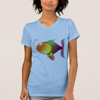 Färgrik gullig rolig fisk - tshirts