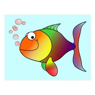 Färgrik gullig rolig fisk - vykort