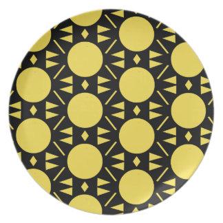 Färgrik gult och svarten cirklar stilmönster tallrik
