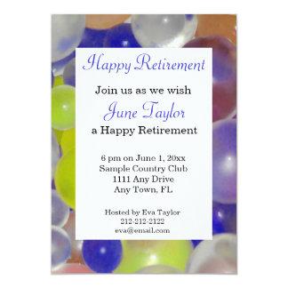 Färgrik inbjudan för ballongpensionparty