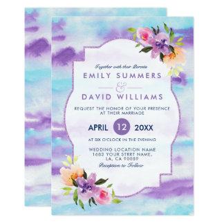 Färgrik inbjudan för blommaBouquetWatercolors