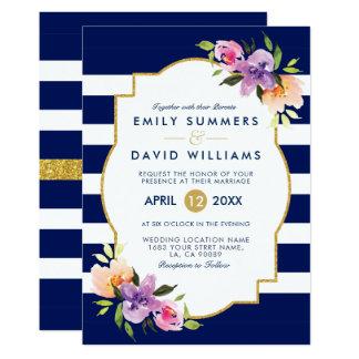 Färgrik inbjudan för bröllop för blommabukettram