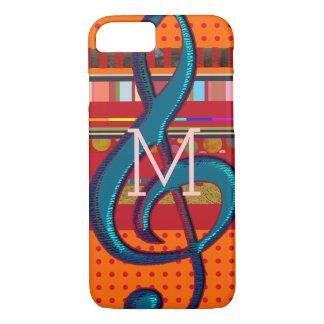 färgrik iPhone 7 med randar och musikal-noterar
