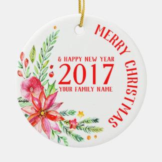 Färgrik julblommabukett & textmall julgransprydnad keramik