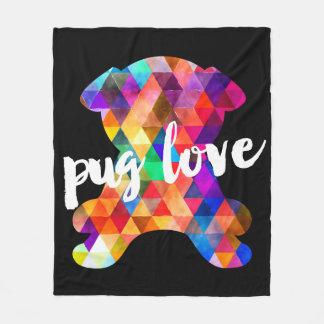 Färgrik kärlek för mops för Silhouette för Fleecefilt