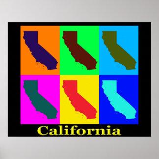 Färgrik karta för Kalifornien statlig popkonst Poster