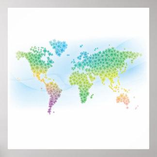 Färgrik klövervärldskarta poster