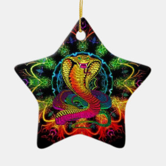 färgrik kobra julgransprydnad keramik