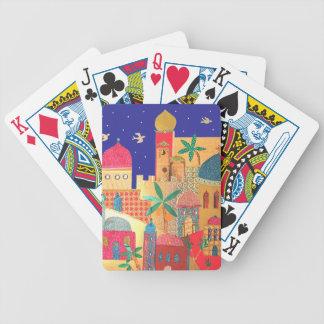 Färgrik konst för Jerusalem stad Spelkort