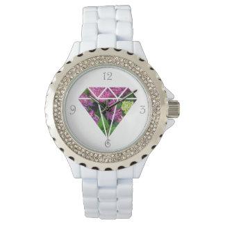 färgrik lila blomma för elegant modern diamant armbandsur