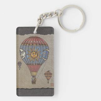 Färgrik luftballong rektangulärt dubbelsidigt nyckelring i akryl