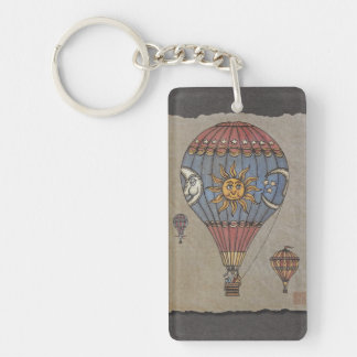 Färgrik luftballong  rektangulärt enkelsidig nyckelring i akryl