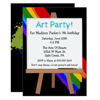 Färgrik målningpartyinbjudan 11,4 x 15,9 cm inbjudningskort