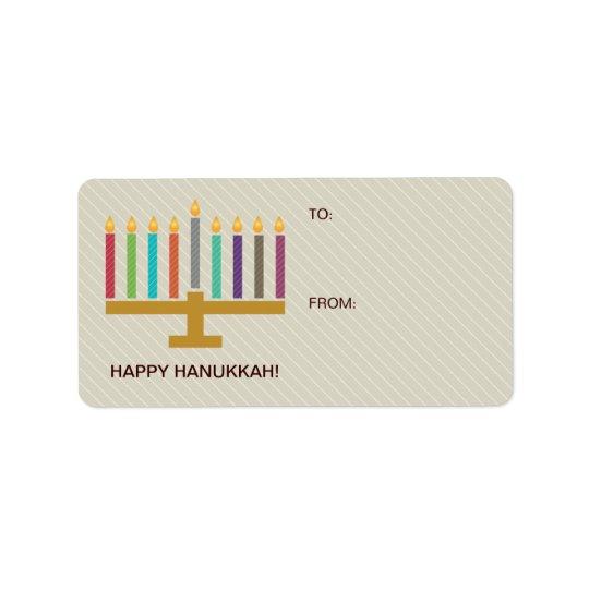 Färgrik menoraHanukkah gåva Adressetikett